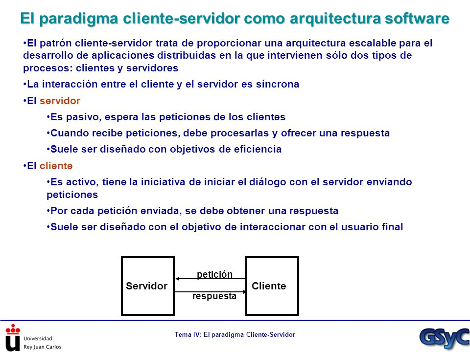 Tema IV: El paradigma Cliente-Servidor En un protocolo hay que especificar quién hace qué en cada momento Múltiples protocolos se basan en el intercambio de mensajes siguiendo un esquema petición-respuesta En múltiples ocasiones asimila este modelo conversacional como cliente-servidor Cliente: el que realiza la petición Servidor: el que espera peticiones y ofrece respuestas Los términos cliente y servidor se utilizan con esta acepción de manera habitual Ejemplos: La API estándar de Java llama ServerSocket a la clase que espera conexiones Pero un ServerSocket no tiene por qué formar parte de un servidor (entendido como patrón arquitectural).