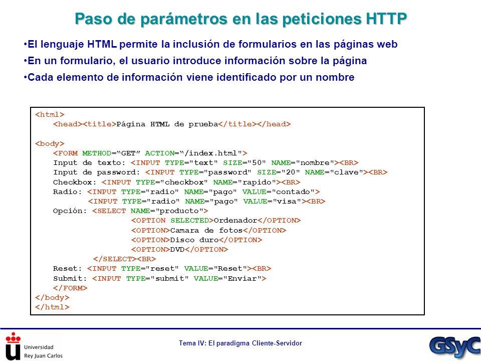 Tema IV: El paradigma Cliente-Servidor Paso de parámetros en las peticiones HTTP Página HTML de prueba Input de texto: Input de password: Checkbox: Ra