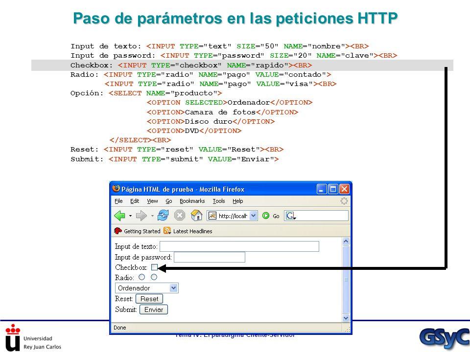 Tema IV: El paradigma Cliente-Servidor Paso de parámetros en las peticiones HTTP Input de texto: Input de password: Checkbox: Radio: Opción: Ordenador