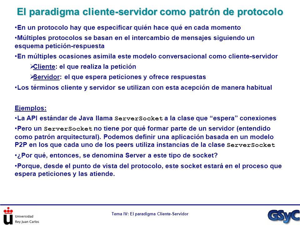 Tema IV: El paradigma Cliente-Servidor Esqueleto en código de un servidor multihilo public class ConcurrentServer { public static void main(String[] args) throws Exception { ConcurrentServer server = new ConcurrentServer(); server.launchServer(Integer.parseInt(args[0])); } private ServerSocket serverSocket; private void launchServer(int serverPort) throws Exception { serverSocket = new ServerSocket(serverPort); //Bucle infinito de gestión de peticiones en el servidor while(true){ Socket connection = serverSocket.accept(); Handler requestProcessor = new Handler(connection); new Thread(requestProcessor).start(); }