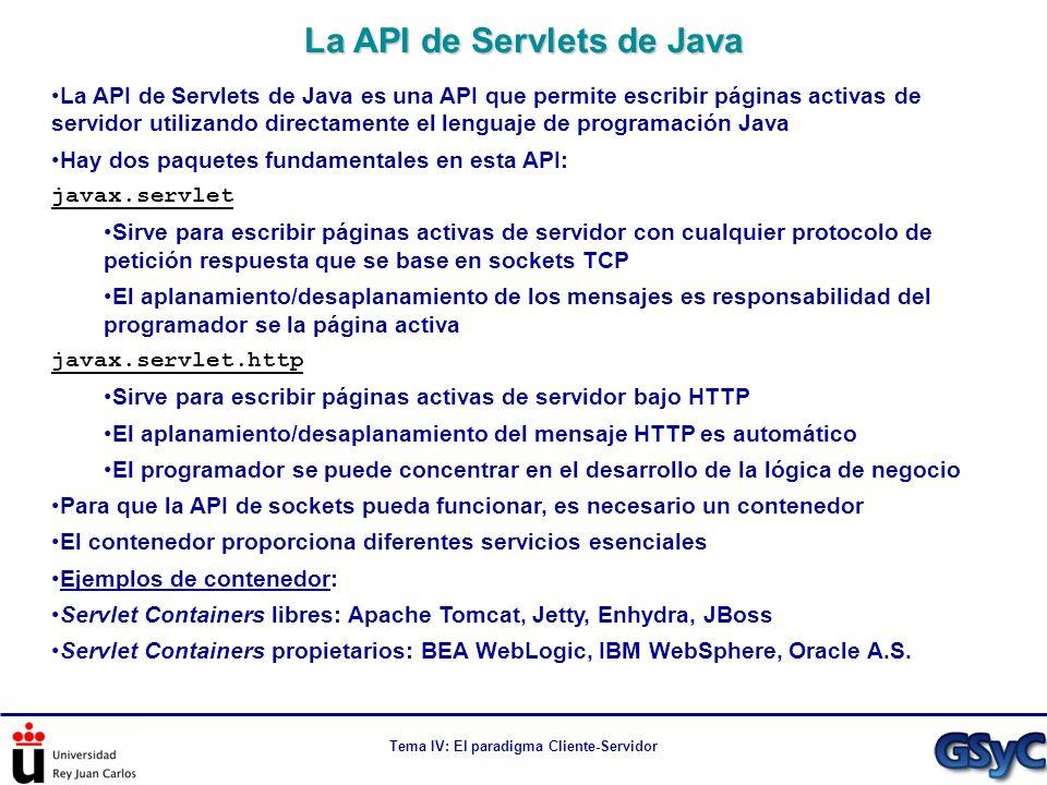 Tema IV: El paradigma Cliente-Servidor La API de Servlets de Java es una API que permite escribir páginas activas de servidor utilizando directamente