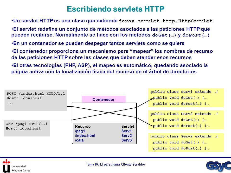 Tema IV: El paradigma Cliente-Servidor Un servlet HTTP es una clase que extiende javax.servlet.http.HttpServlet El servlet redefine un conjunto de mét