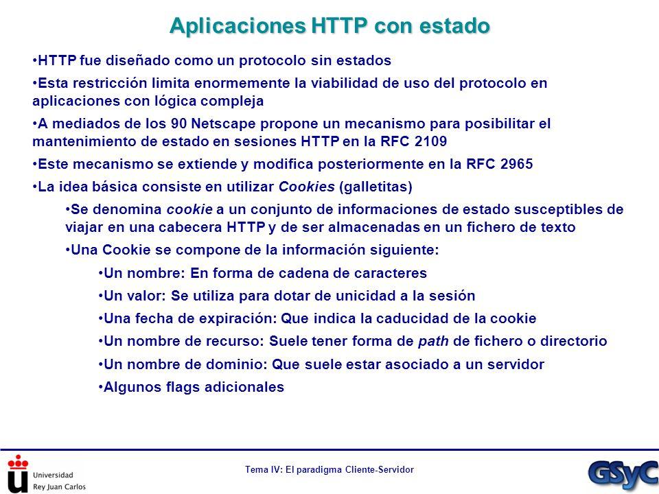 Tema IV: El paradigma Cliente-Servidor HTTP fue diseñado como un protocolo sin estados Esta restricción limita enormemente la viabilidad de uso del pr