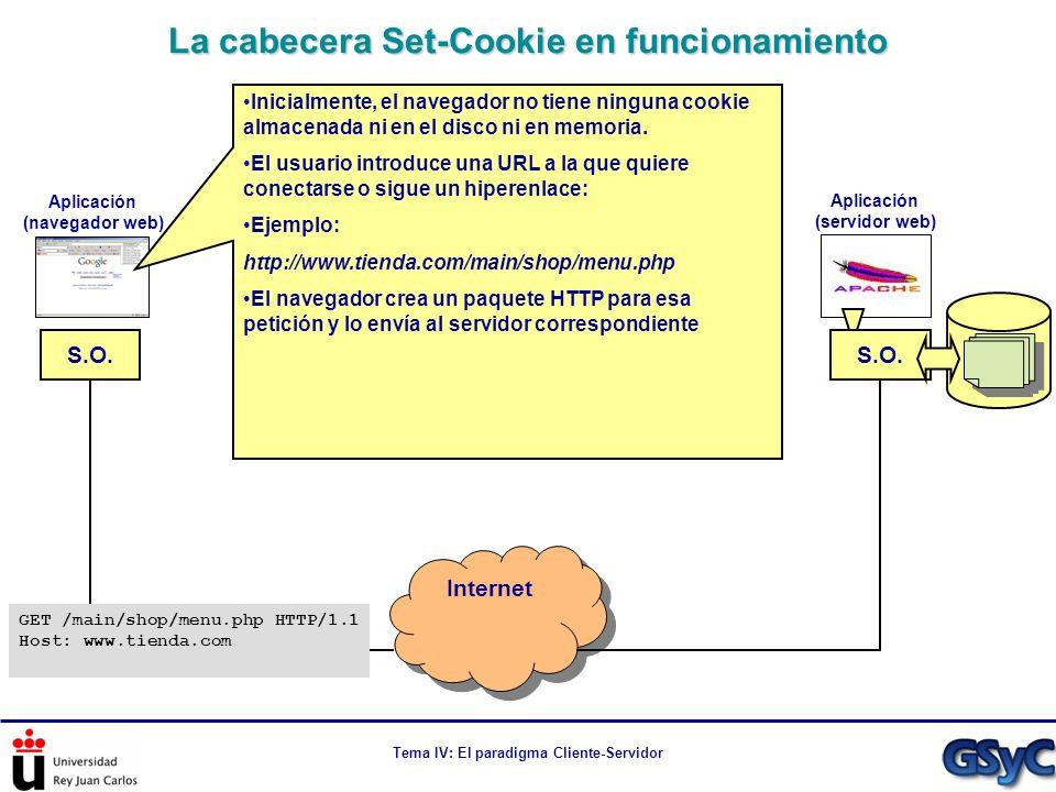 Tema IV: El paradigma Cliente-Servidor La cabecera Set-Cookie en funcionamiento Internet S.O. Aplicación (navegador web) Aplicación (servidor web) Ini