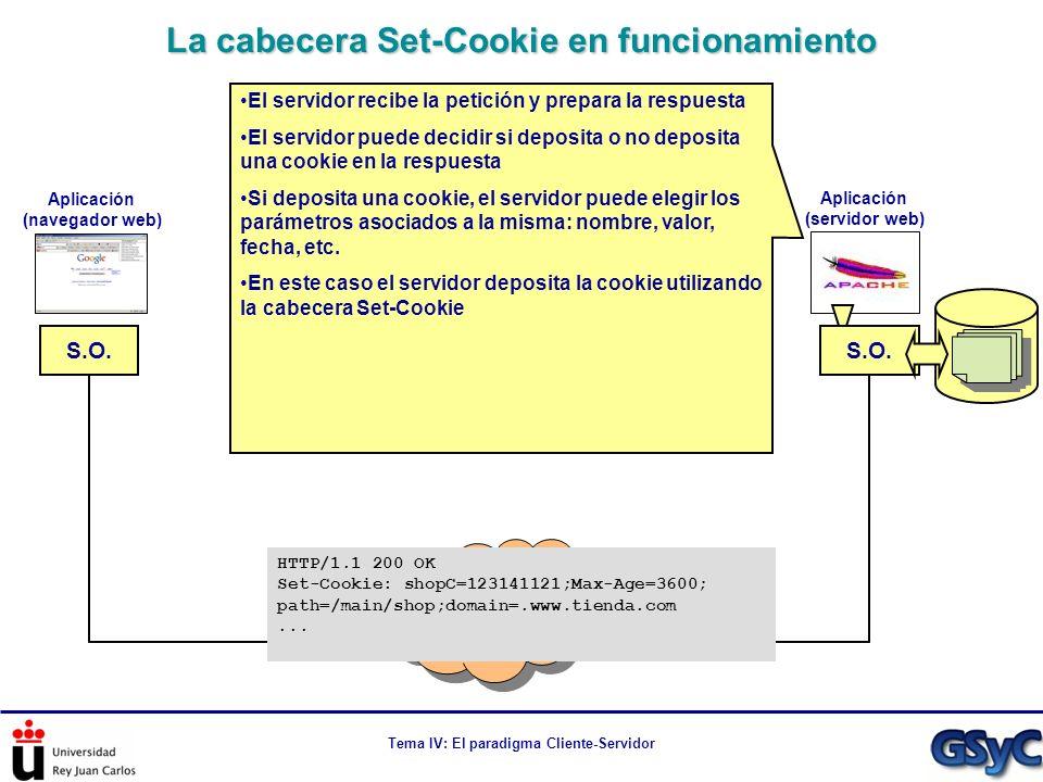 Tema IV: El paradigma Cliente-Servidor La cabecera Set-Cookie en funcionamiento Internet S.O. Aplicación (navegador web) Aplicación (servidor web) El