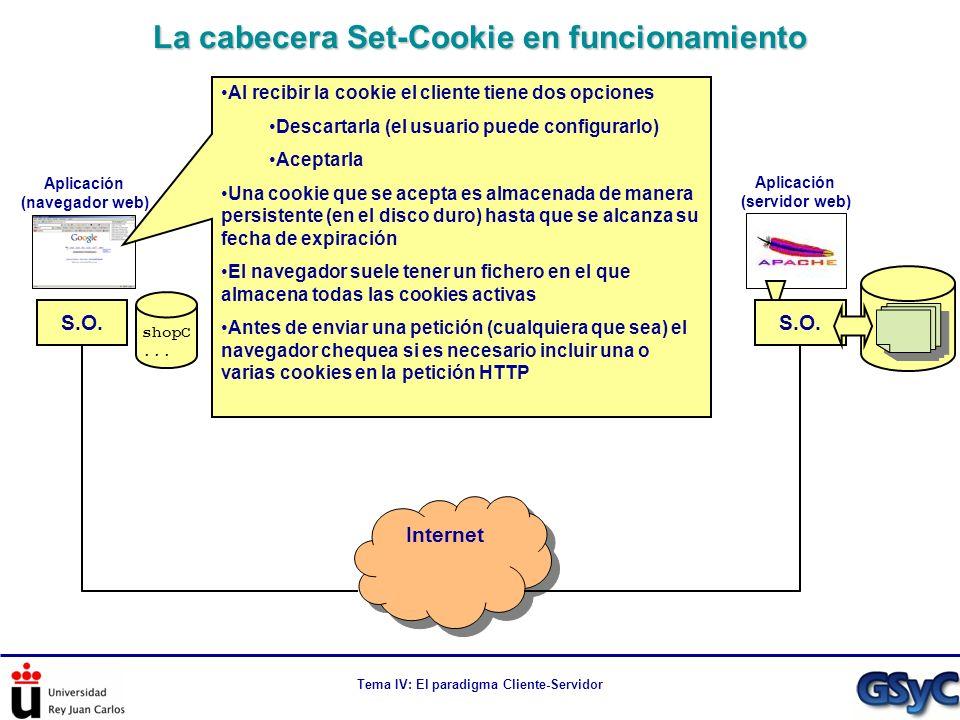 Tema IV: El paradigma Cliente-Servidor La cabecera Set-Cookie en funcionamiento Internet S.O. Aplicación (navegador web) Aplicación (servidor web) Al
