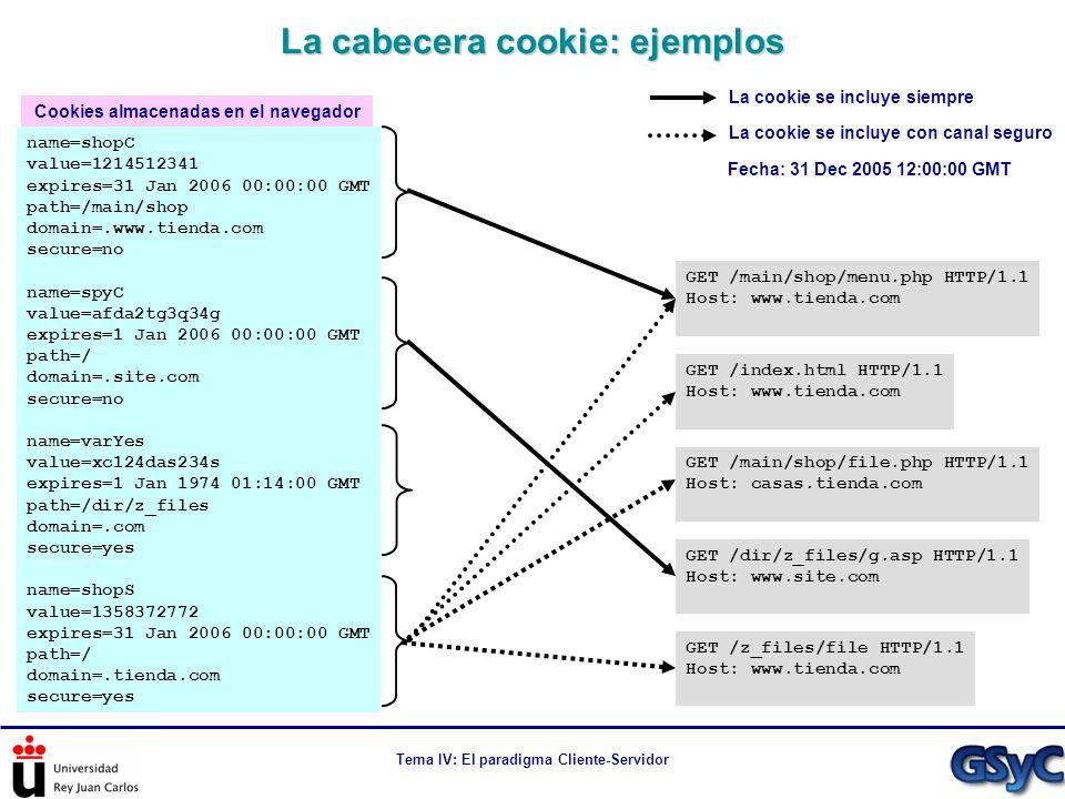 Tema IV: El paradigma Cliente-Servidor La cabecera cookie: ejemplos name=shopC value=1214512341 expires=31 Jan 2006 00:00:00 GMT path=/main/shop domai