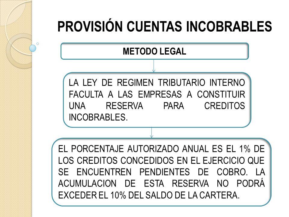 PROVISIÓN CUENTAS INCOBRABLES METODO LEGAL LA LEY DE REGIMEN TRIBUTARIO INTERNO FACULTA A LAS EMPRESAS A CONSTITUIR UNA RESERVA PARA CREDITOS INCOBRABLES.