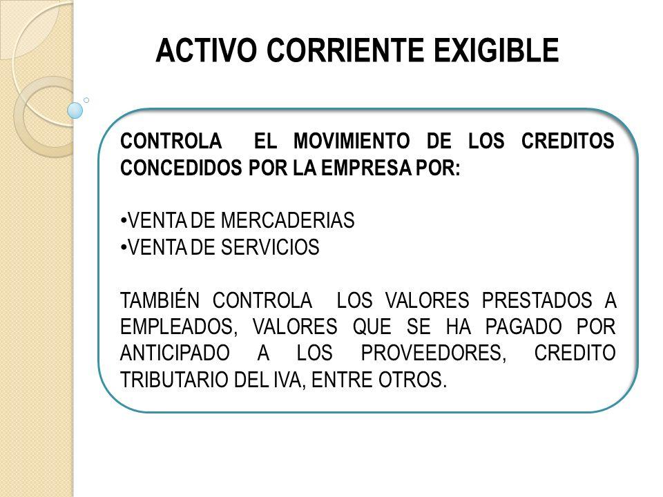 ACTIVO CORRIENTE EXIGIBLE CONTROLA EL MOVIMIENTO DE LOS CREDITOS CONCEDIDOS POR LA EMPRESA POR: VENTA DE MERCADERIAS VENTA DE SERVICIOS TAMBIÉN CONTROLA LOS VALORES PRESTADOS A EMPLEADOS, VALORES QUE SE HA PAGADO POR ANTICIPADO A LOS PROVEEDORES, CREDITO TRIBUTARIO DEL IVA, ENTRE OTROS.