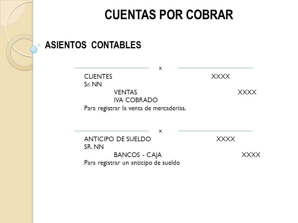CUENTAS POR COBRAR ASIENTOS CONTABLES CLIENTES XXXX Sr.