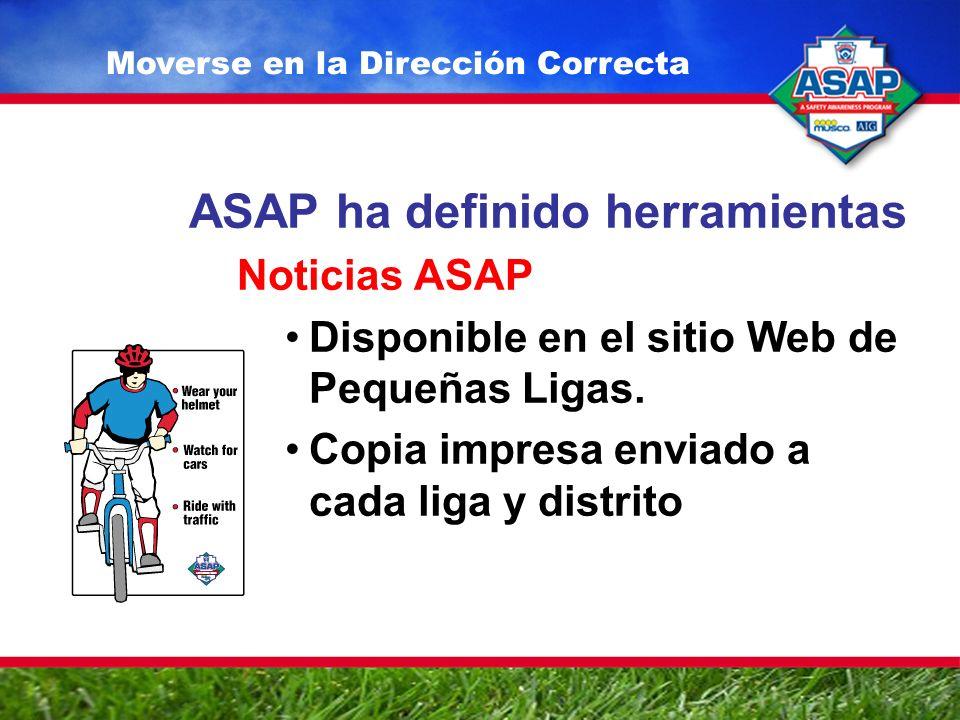 ASAP ha definido herramientas Noticias ASAP Disponible en el sitio Web de Pequeñas Ligas.