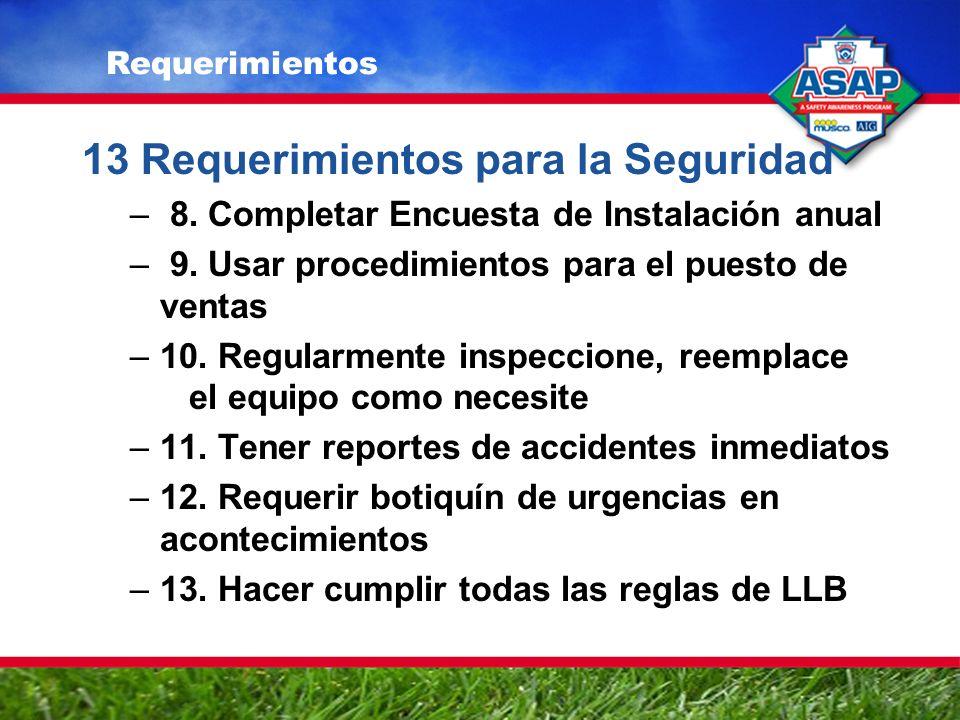 13 Requerimientos para la Seguridad – 8. Completar Encuesta de Instalación anual – 9.