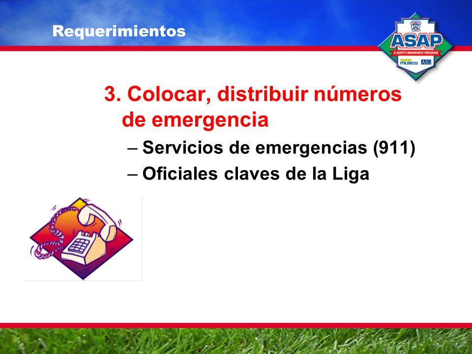 3. Colocar, distribuir números de emergencia –Servicios de emergencias (911) –Oficiales claves de la Liga Requerimientos