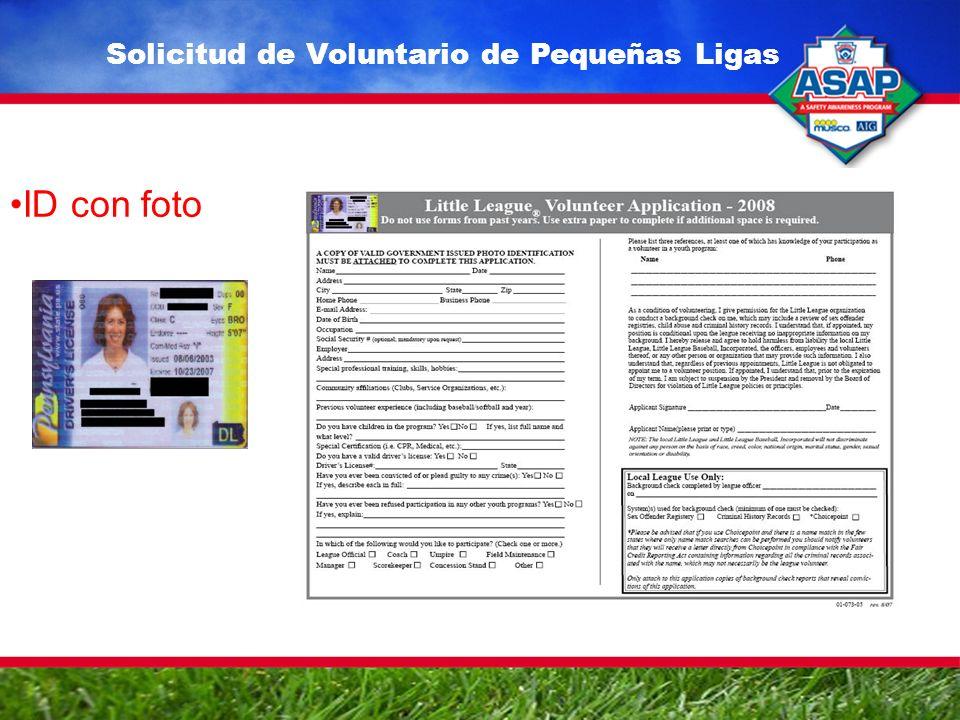 ID con foto Solicitud de Voluntario de Pequeñas Ligas