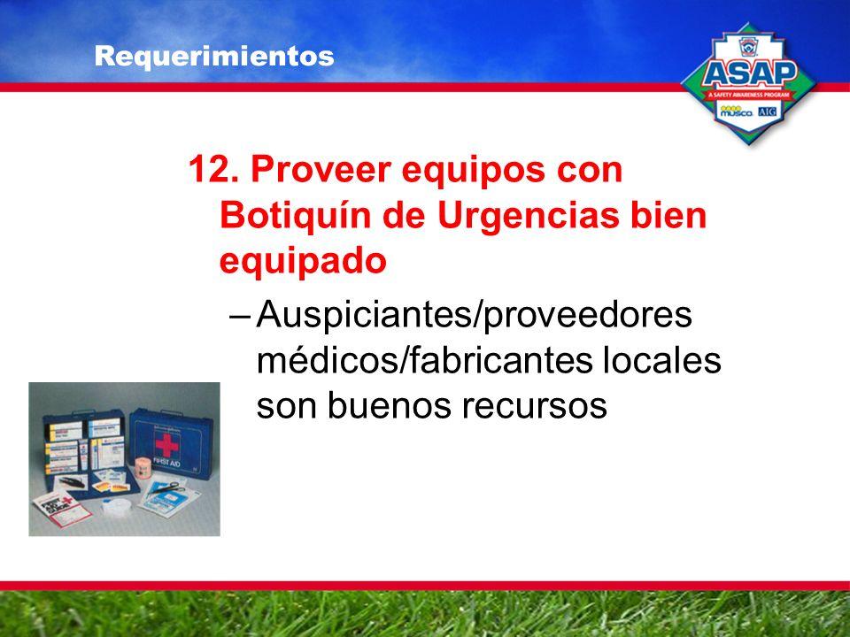 12. Proveer equipos con Botiquín de Urgencias bien equipado –Auspiciantes/proveedores médicos/fabricantes locales son buenos recursos Requerimientos