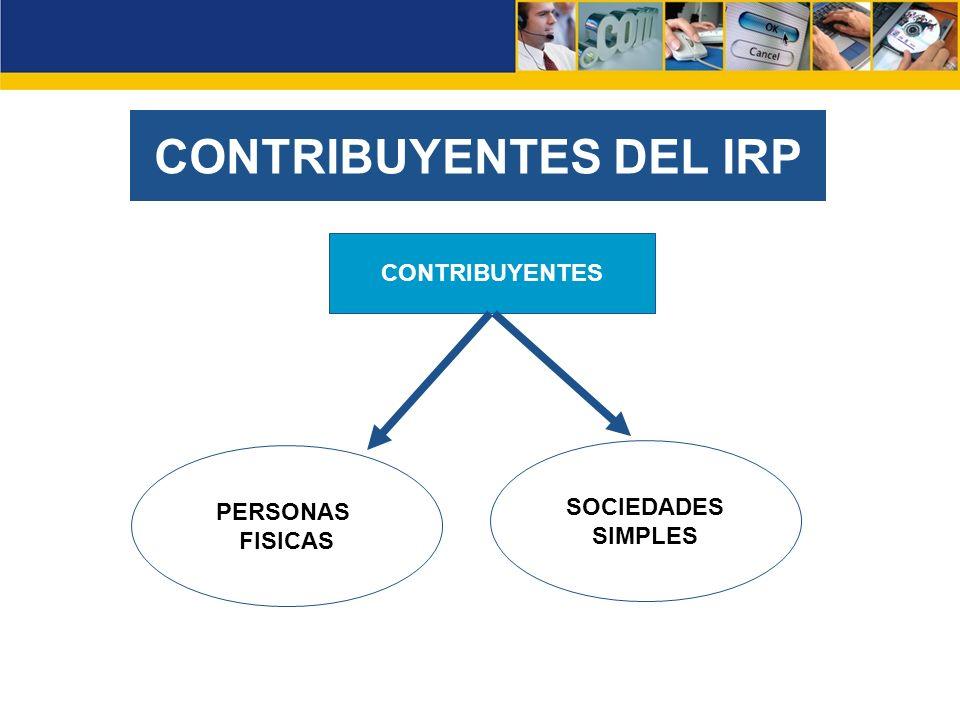 CONTRIBUYENTES DEL IRP PERSONAS FISICAS SOCIEDADES SIMPLES CONTRIBUYENTES