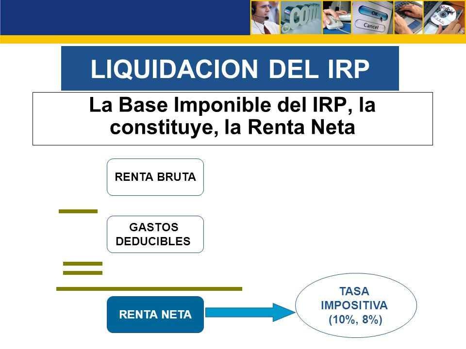 LIQUIDACION DEL IRP La Base Imponible del IRP, la constituye, la Renta Neta RENTA BRUTA GASTOS DEDUCIBLES RENTA NETA TASA IMPOSITIVA (10%, 8%)