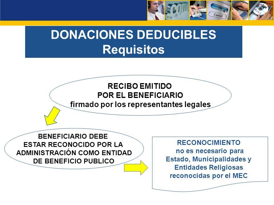 DONACIONES DEDUCIBLES Requisitos BENEFICIARIO DEBE ESTAR RECONOCIDO POR LA ADMINISTRACIÓN COMO ENTIDAD DE BENEFICIO PUBLICO RECIBO EMITIDO POR EL BENEFICIARIO firmado por los representantes legales RECONOCIMIENTO no es necesario para Estado, Municipalidades y Entidades Religiosas reconocidas por el MEC