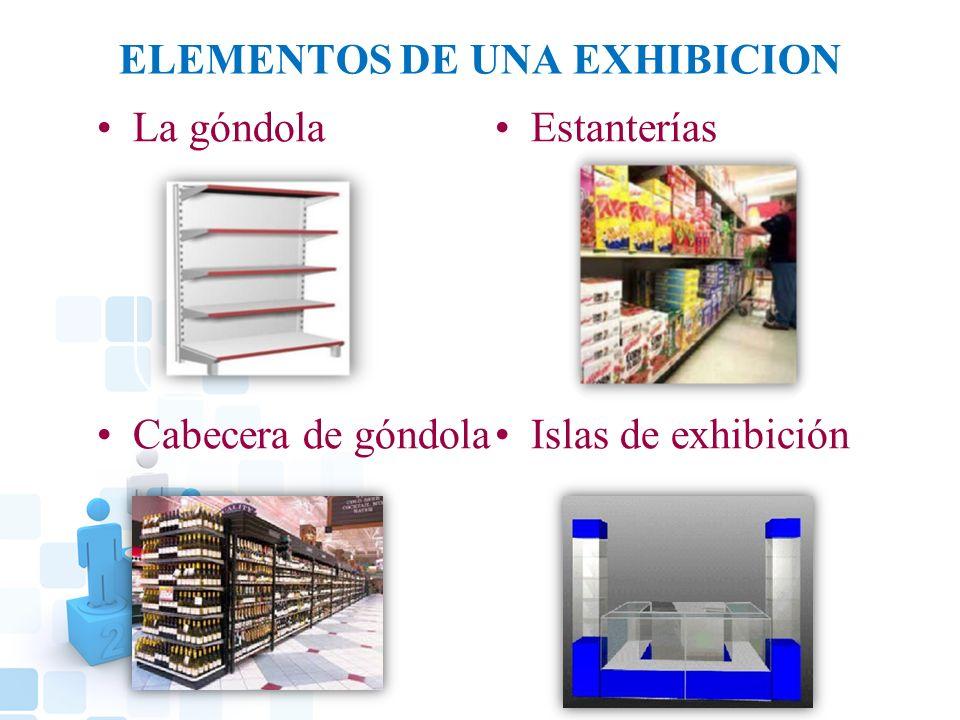 ELEMENTOS DE UNA EXHIBICION La góndola Cabecera de góndola Estanterías Islas de exhibición