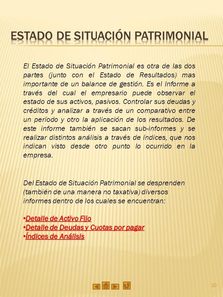 10 El Estado de Situación Patrimonial es otra de las dos partes (junto con el Estado de Resultados) mas importante de un balance de gestión.