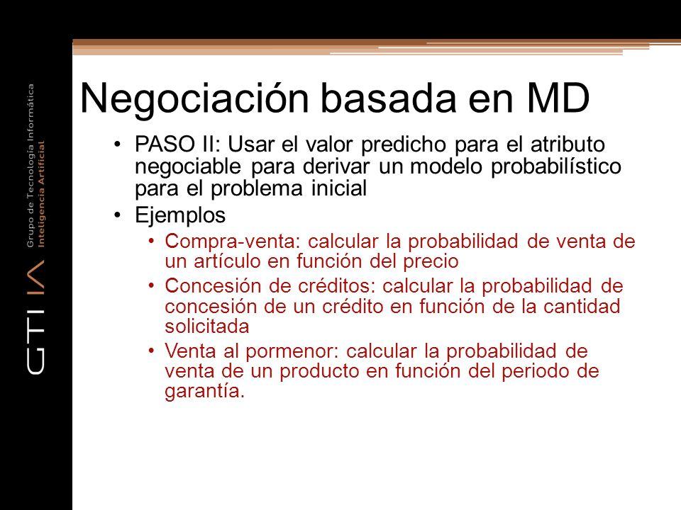 Negociación basada en MD PASO II: Usar el valor predicho para el atributo negociable para derivar un modelo probabilístico para el problema inicial Ej