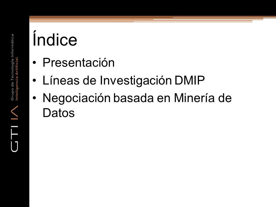 Índice Presentación Líneas de Investigación DMIP Negociación basada en Minería de Datos