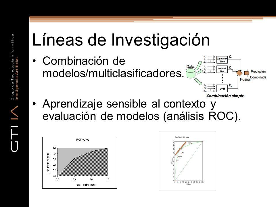 Líneas de Investigación Combinación de modelos/multiclasificadores. Aprendizaje sensible al contexto y evaluación de modelos (análisis ROC).