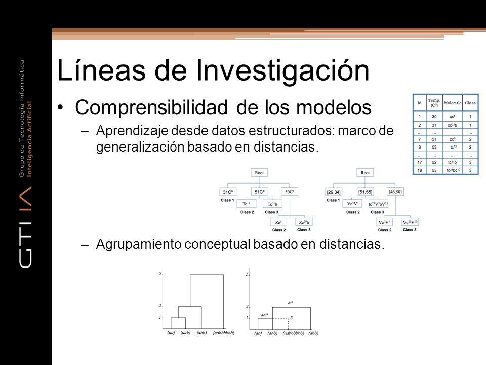 Líneas de Investigación Comprensibilidad de los modelos –Aprendizaje desde datos estructurados: marco de generalización basado en distancias. –Agrupam