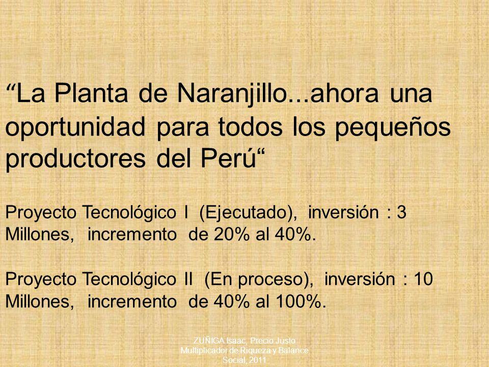 La Planta de Naranjillo...ahora una oportunidad para todos los pequeños productores del Perú Proyecto Tecnológico I (Ejecutado), inversión : 3 Millones, incremento de 20% al 40%.