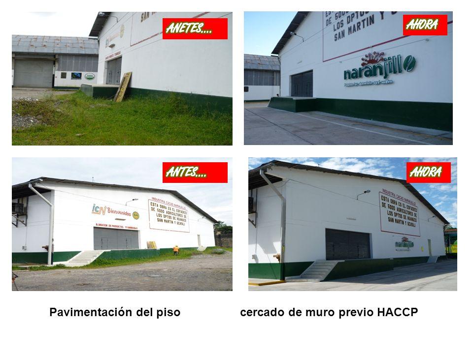Pavimentación del piso externo y cercado de muro previo HACCP