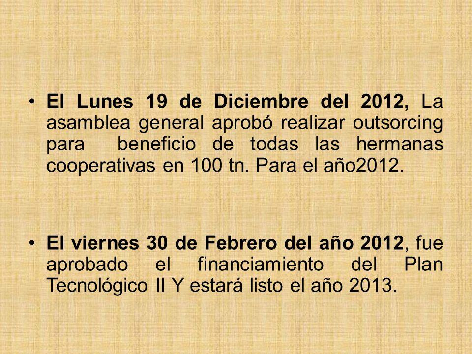 El Lunes 19 de Diciembre del 2012, La asamblea general aprobó realizar outsorcing para beneficio de todas las hermanas cooperativas en 100 tn.