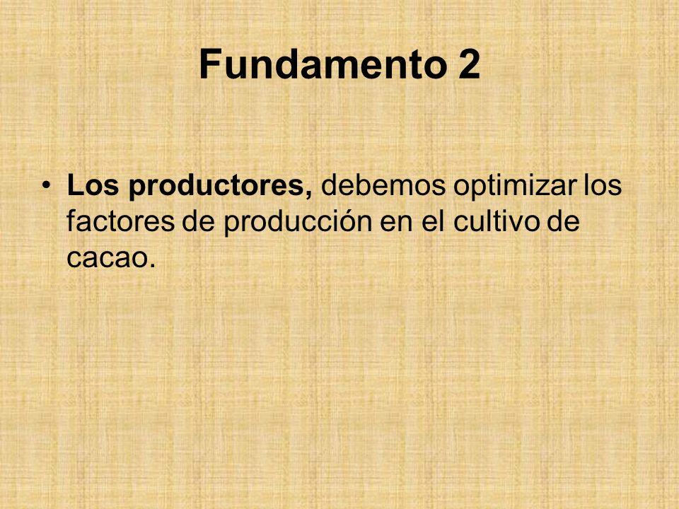 Fundamento 2 Los productores, debemos optimizar los factores de producción en el cultivo de cacao.