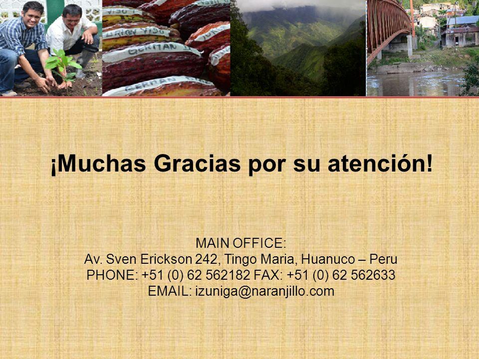 ¡Muchas Gracias por su atención.MAIN OFFICE: Av.