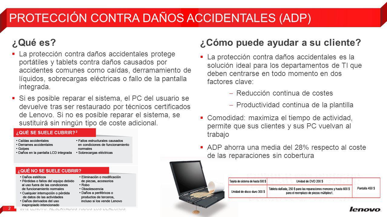 2012 LENOVO.RESERVADOS TODOS LOS DERECHOS. 2 PROTECCIÓN CONTRA DAÑOS ACCIDENTALES (ADP) ¿Qué es.