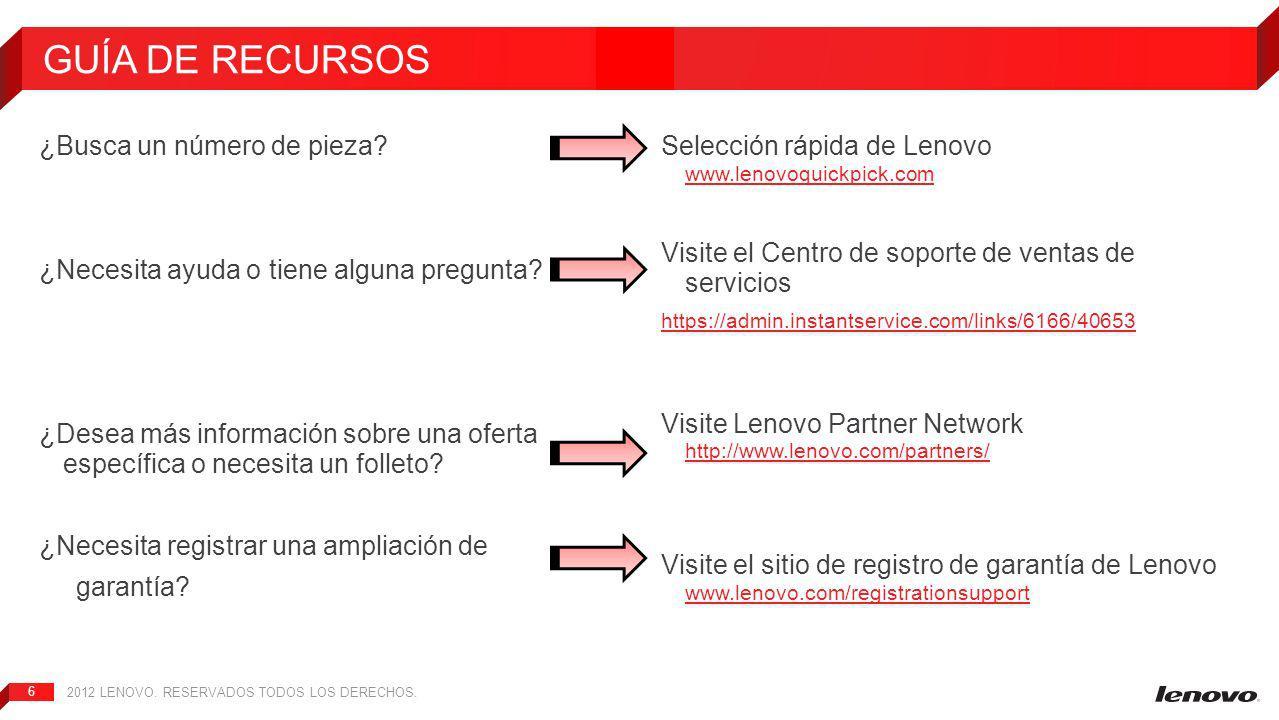 2012 LENOVO.RESERVADOS TODOS LOS DERECHOS. 6 ¿Busca un número de pieza.
