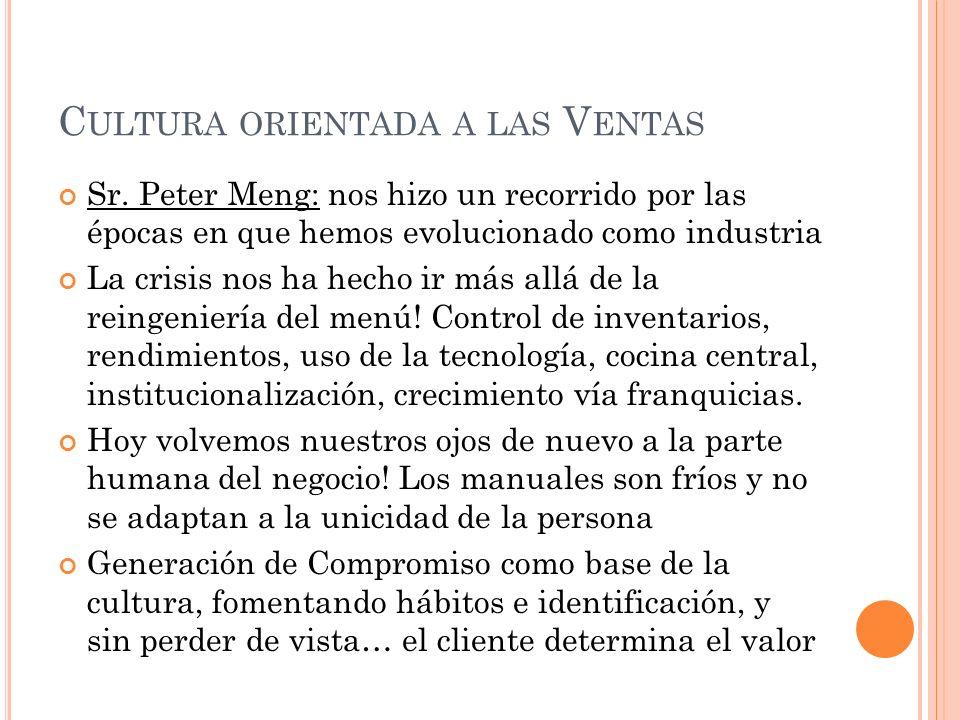 C ULTURA ORIENTADA A LAS V ENTAS Sr.