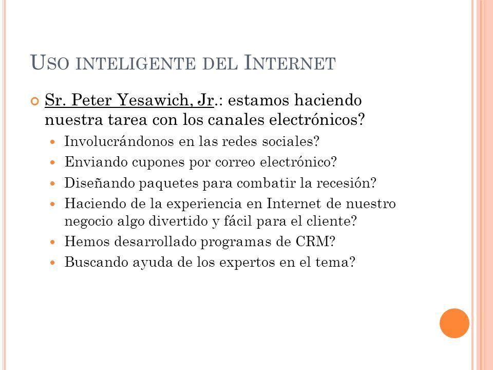 T ENDENCIAS DEL I NTERNET Internet Móvil: ahora la gente no se conecta a Internet, sino que permanece en línea a través de su aparato móvil (celular).