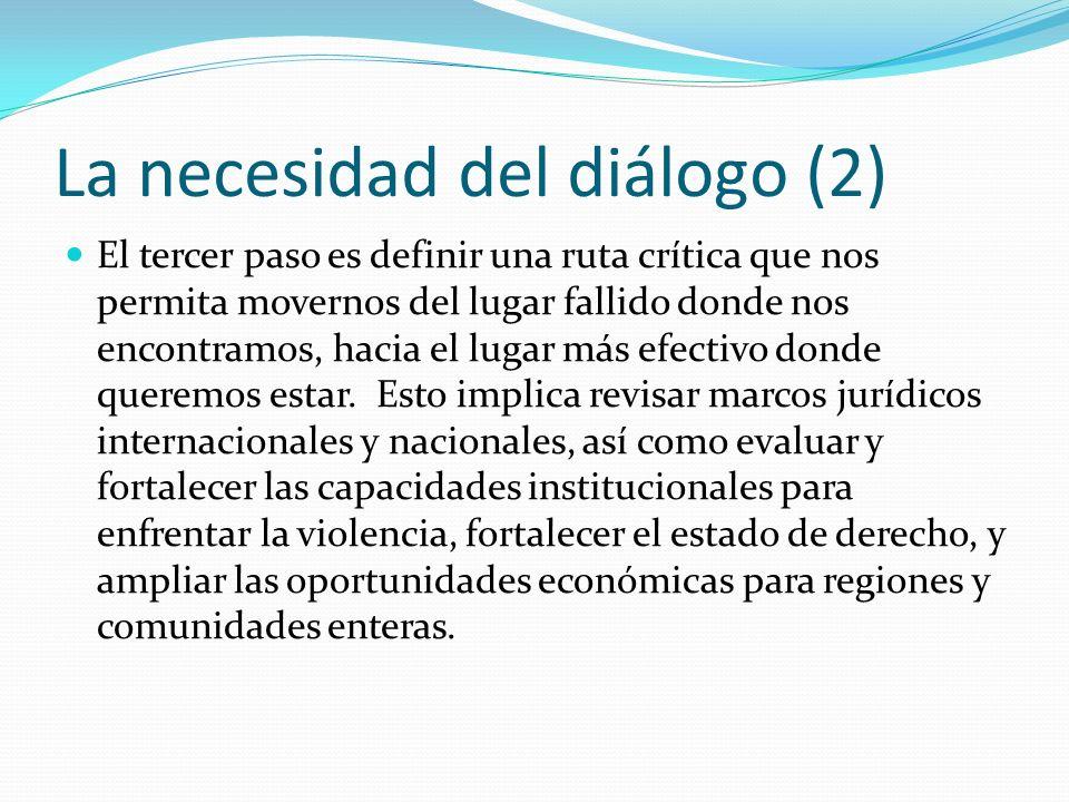 La necesidad del diálogo (2) El tercer paso es definir una ruta crítica que nos permita movernos del lugar fallido donde nos encontramos, hacia el lugar más efectivo donde queremos estar.