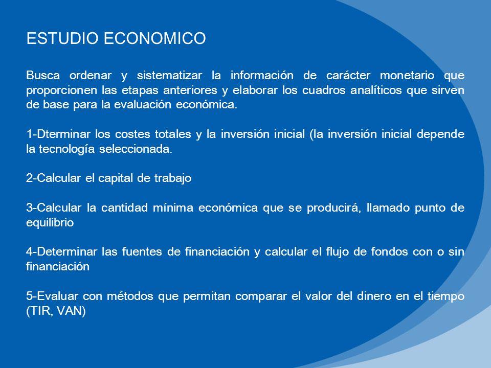 ESTUDIO ECONOMICO Busca ordenar y sistematizar la información de carácter monetario que proporcionen las etapas anteriores y elaborar los cuadros anal