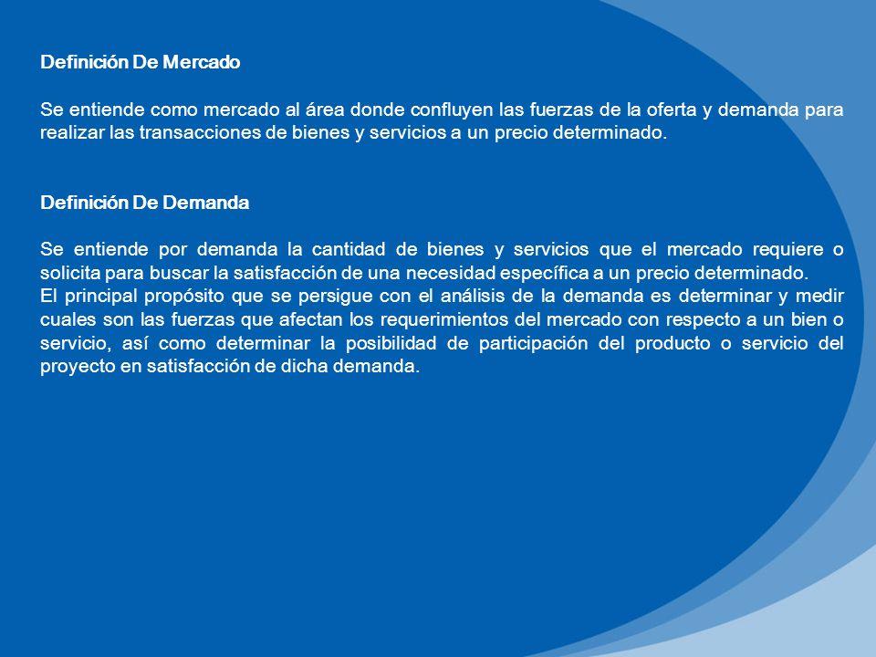 Definición De Mercado Se entiende como mercado al área donde confluyen las fuerzas de la oferta y demanda para realizar las transacciones de bienes y