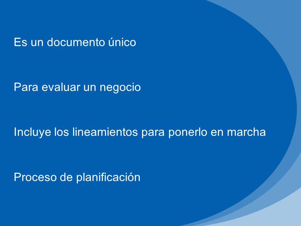 Es un documento único Para evaluar un negocio Incluye los lineamientos para ponerlo en marcha Proceso de planificación