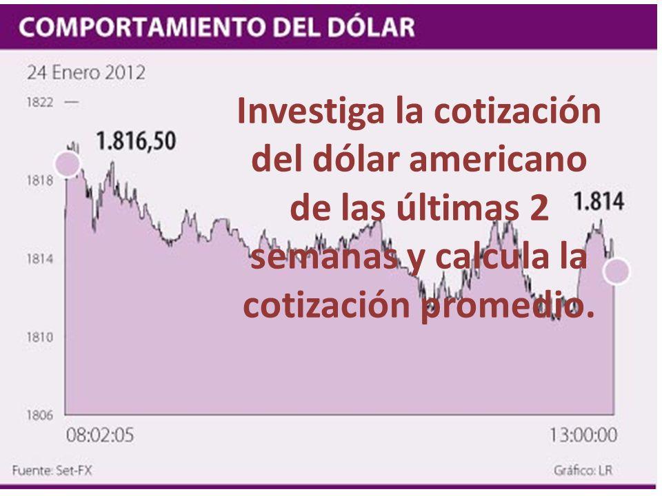 Investiga la cotización del dólar americano de las últimas 2 semanas y calcula la cotización promedio.