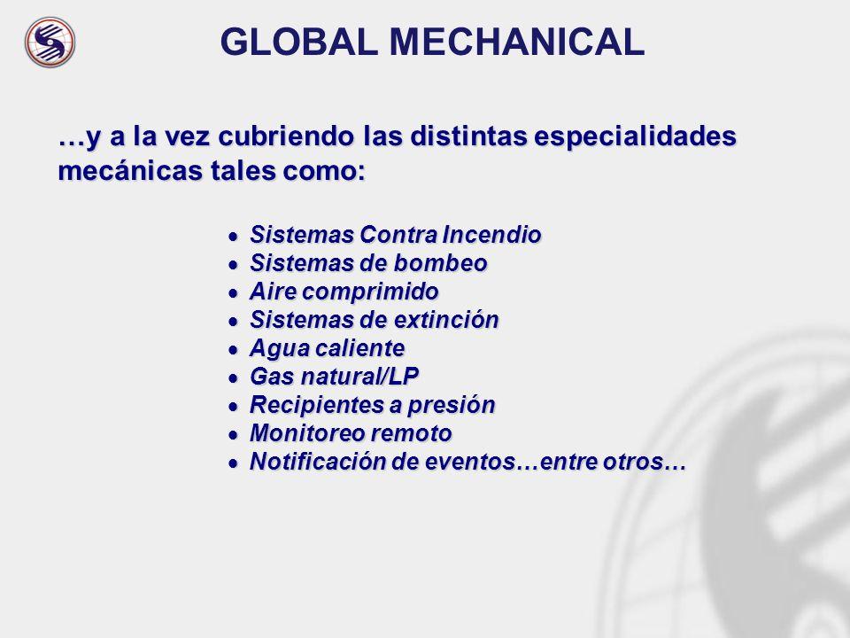 GLOBAL MECHANICAL …y a la vez cubriendo las distintas especialidades mecánicas tales como: Sistemas Contra Incendio Sistemas Contra Incendio Sistemas