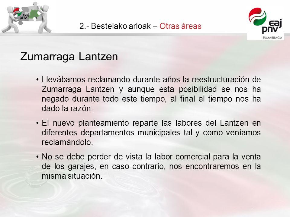 Zumarraga Lantzen 2.- Bestelako arloak – Otras áreas Llevábamos reclamando durante años la reestructuración de Zumarraga Lantzen y aunque esta posibilidad se nos ha negado durante todo este tiempo, al final el tiempo nos ha dado la razón.