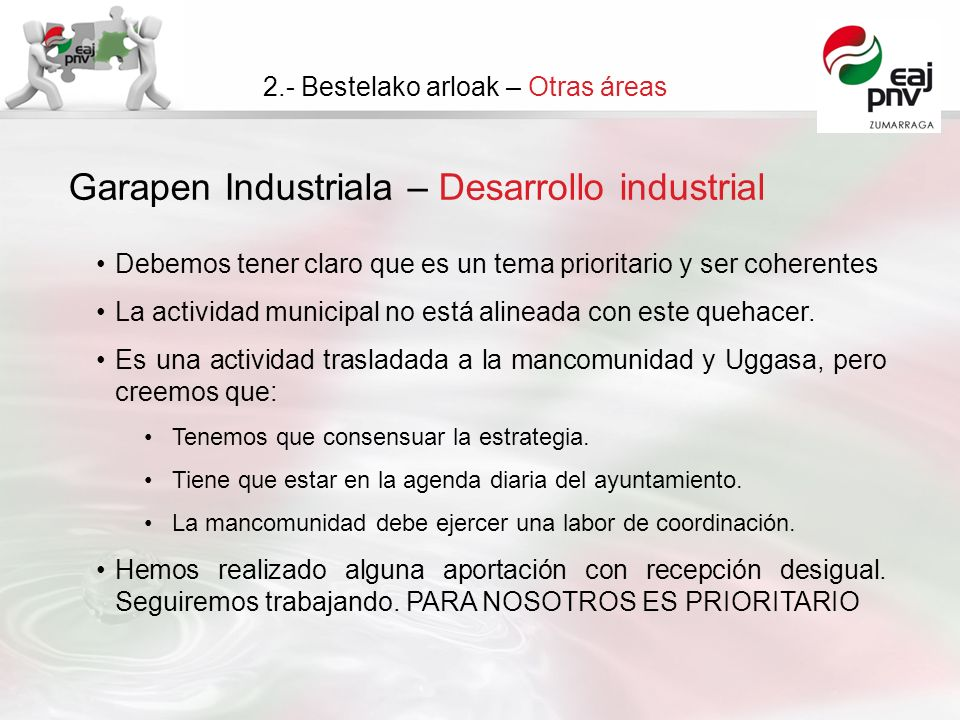 Garapen Industriala – Desarrollo industrial 2.- Bestelako arloak – Otras áreas Debemos tener claro que es un tema prioritario y ser coherentes La actividad municipal no está alineada con este quehacer.