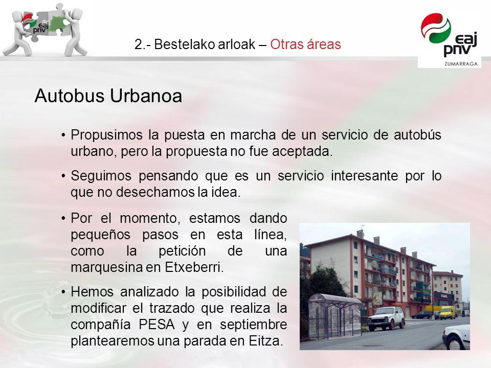Autobus Urbanoa 2.- Bestelako arloak – Otras áreas Propusimos la puesta en marcha de un servicio de autobús urbano, pero la propuesta no fue aceptada.