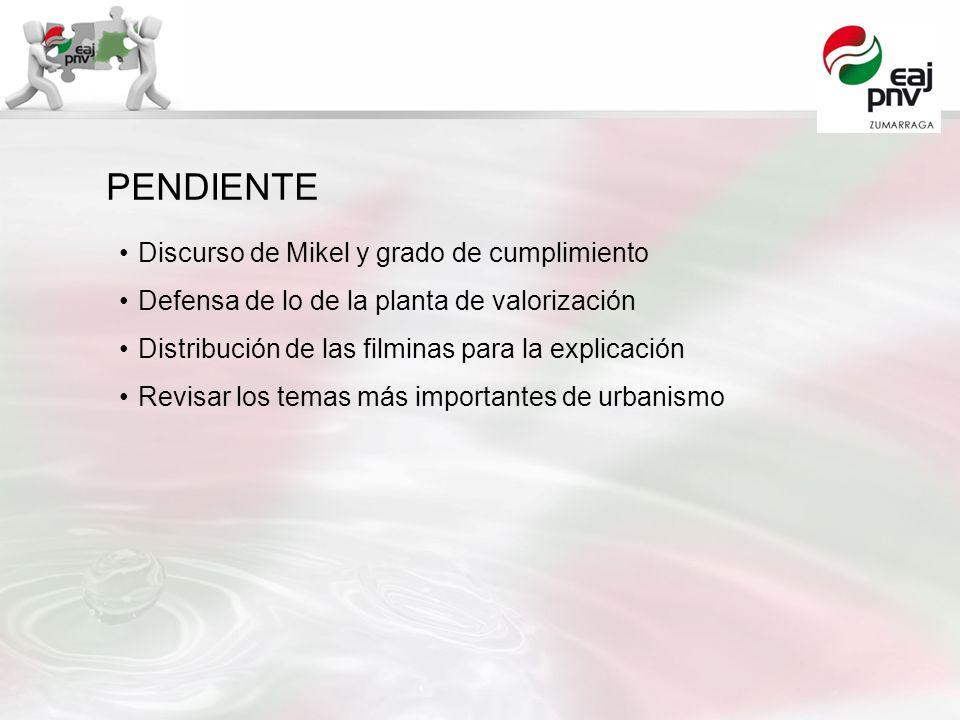Discurso de Mikel y grado de cumplimiento Defensa de lo de la planta de valorización Distribución de las filminas para la explicación Revisar los tema