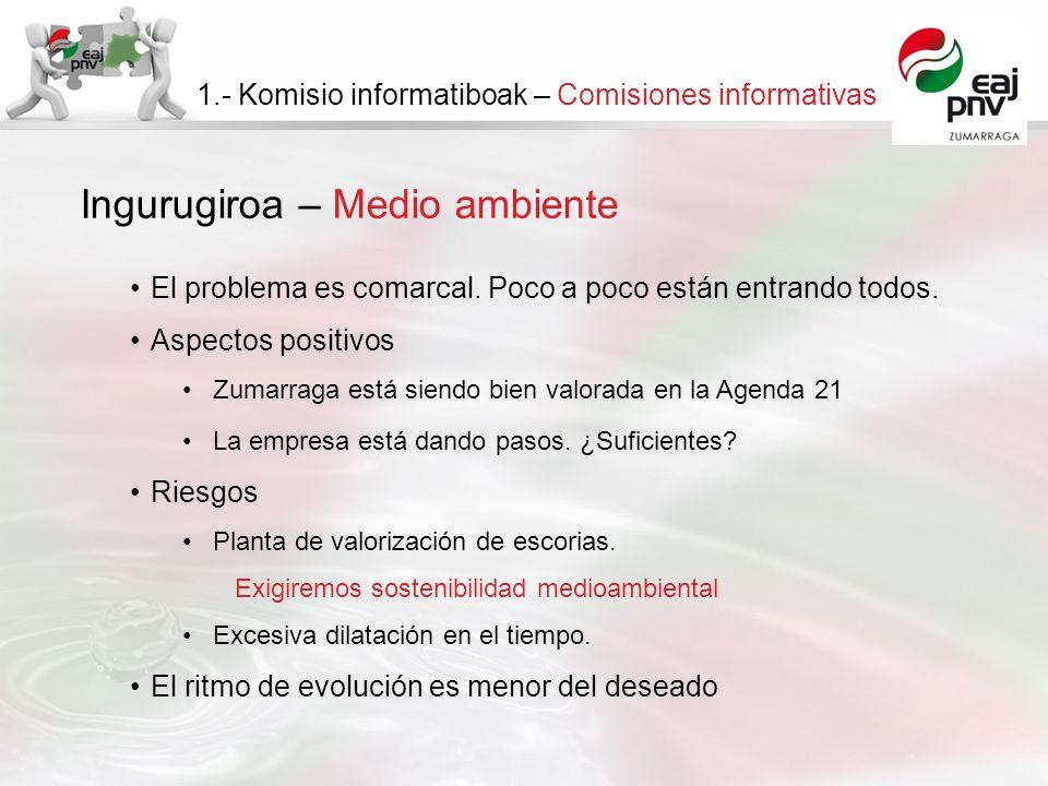 Ingurugiroa – Medio ambiente 1.- Komisio informatiboak – Comisiones informativas El problema es comarcal. Poco a poco están entrando todos. Aspectos p