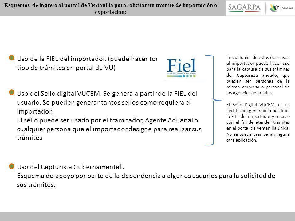 Esquemas de ingreso al portal de Ventanilla para solicitar un tramite de importación o exportación: Uso de la FIEL del importador. (puede hacer todo t