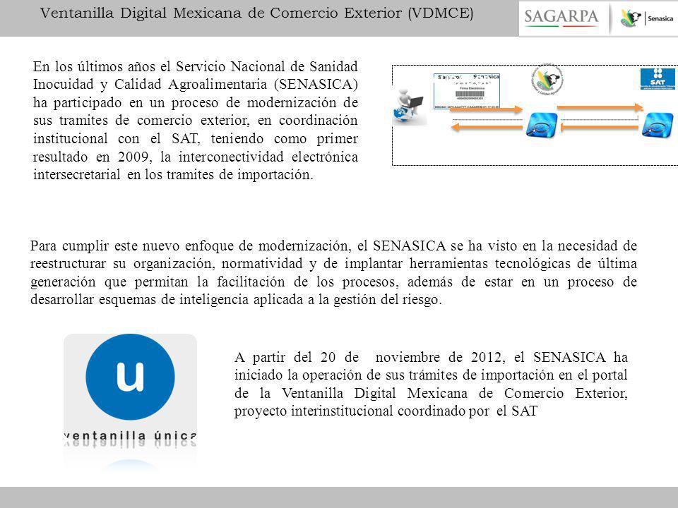 Operación de SENASICA para la internación y salida de mercancías con la implementación de VU.
